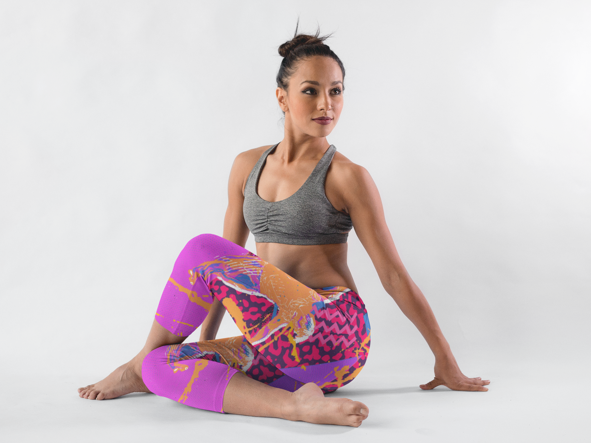 hispanic-girl-wearing-leggings-template-while-in-a-yoga-pose-in-a-white-room-a15402